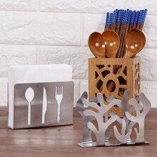Servilletero de papel hueco de acero inoxidable, soporte para pañuelos, soporte para servilletas, mesa creativa Vertical, Clip para servilletas para decoración del hogar y la cocina