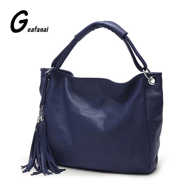 COUPON leather tassel women hobos half moon handbag lady black blue purple red shoulder casual tote cross-body messenger bags