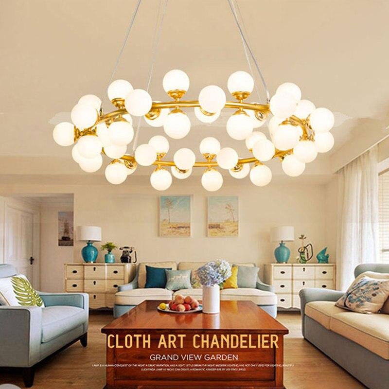 Haricot magique LED moléculaire Pendentif Lumière fer art boule de verre bulle salon restaurant Art Pendentif Lampe