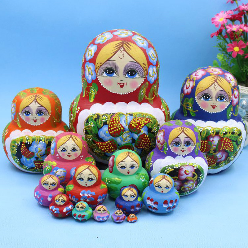 Mnotht Colorful Embossed Strawberry Russian Wooden Dolls 15 Layer Dry Basswood Handmade Matryoshka Doll Nesting Toys  L30