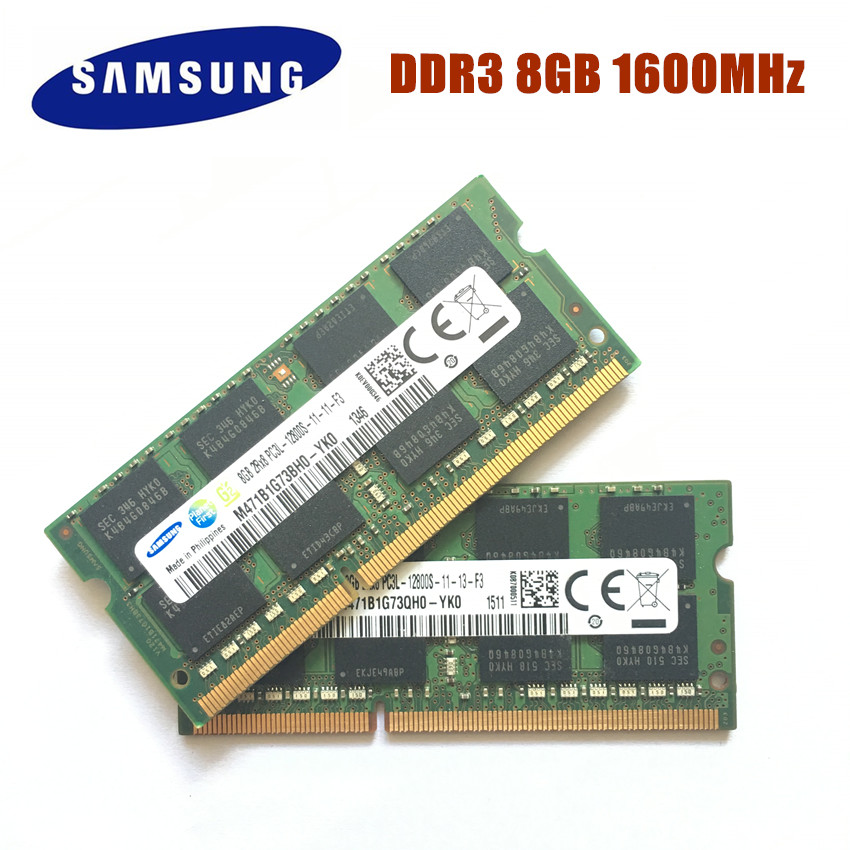 Samsung 8GB PC3 PC3L-12800S DDR3 1600Mhz 8gb Laptop Memory DDR3L 8G PC3L 12800S 1600MHZ Notebook Module SODIMM RAM Free Shipping