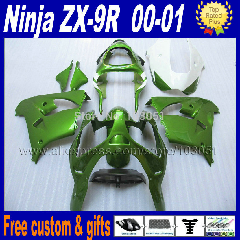 Custom free motorcycle fairing kits for kawasaki ZX 9R 2000 2001 ninja ZX9R ZX9 00 01 dark green body repair fairings parts compression mold bodykit for kawasaki fairing kits zx9r 2000 2001 zx 9r 00 01 ninja customize green purple body parts 7gifts