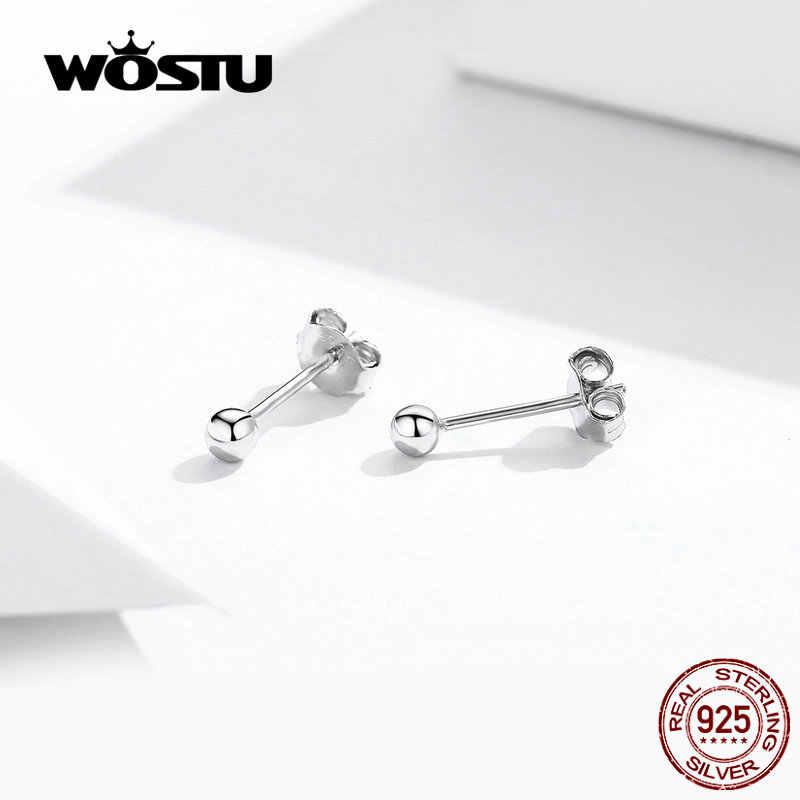 WOSTU Trendy małe kulkowe kolczyki 100% prawdziwe 925 srebro dla kobiet ślubny, prosty okrągły kształt Tiny kolczyki FIE581