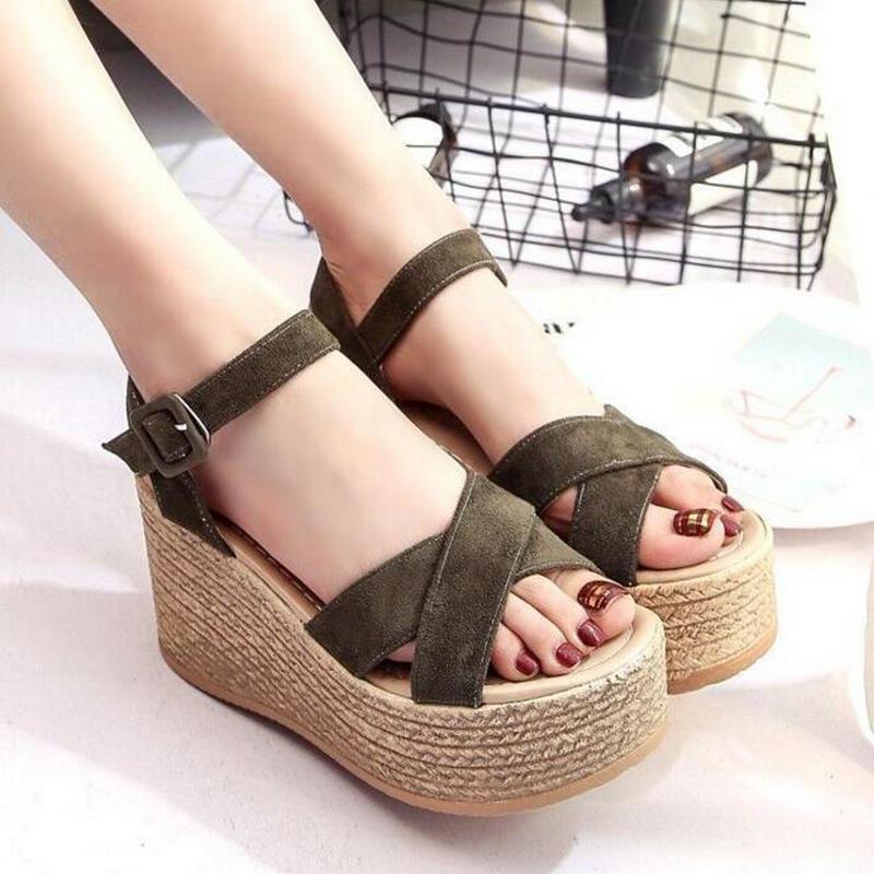 Summer Buckle Women's Sandals Velvet Flock Fish Mouth Fashion high Heel Platform Open Toes Women Sandals Shoes Drop Shipping 2