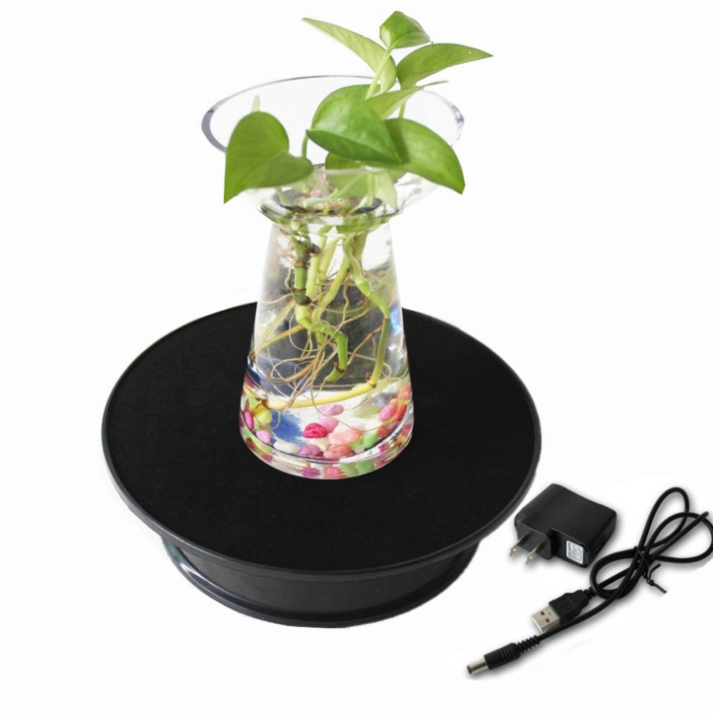 Black Velvet Top Electric Motorized Rotating Display Turntable For Model Jewelry Hobby Collectible Home - With 110v Ac Adapter