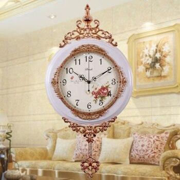 Luxury Creative Art Living Room Wall Clock Vintage Wood Silent Digital Wall Clocks Reloj Pared Watch Wandklok Home Decor 50A0982