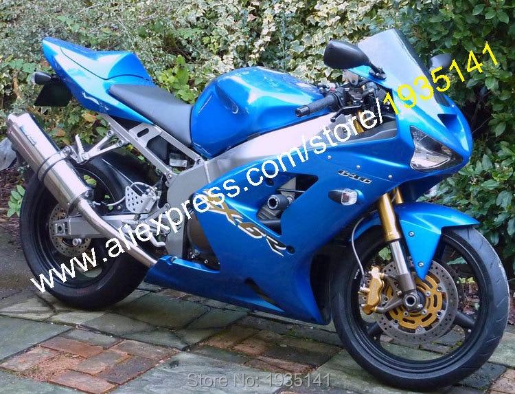 Hot Prodej, Pro Kawasaki Ninja ZX6R 03 04 ZX 6R 636 2003 2004 ZX-6R Modrá Aftermarket Sportbike ABS kapotová souprava (vstřikování)