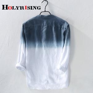 Image 2 - Holyrising גברים פשתן חולצה חדש קיץ גברים של פשתן חולצה גברים מותג חולצה mens שיפוע כחול חולצות זכר מזדמן 18814  5