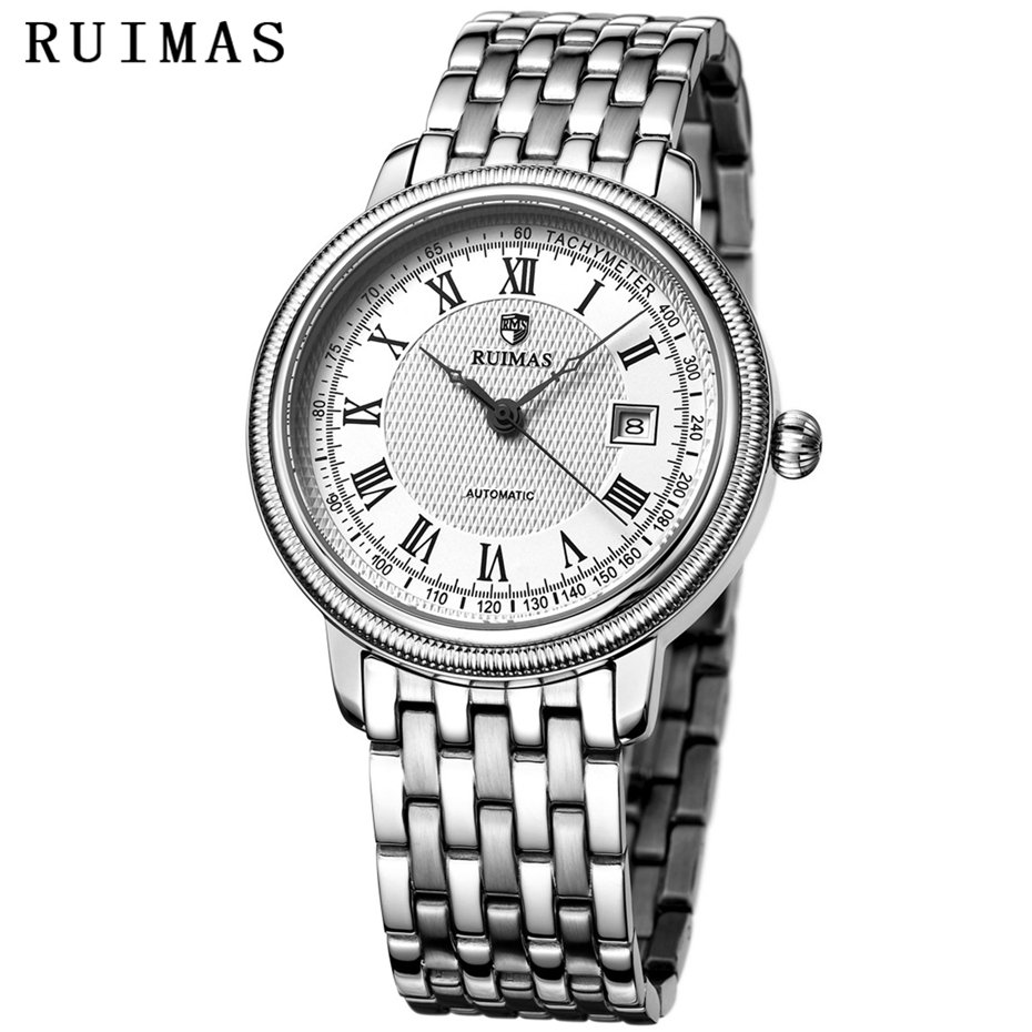 Business Men Classic Luxury Watch Automatic Mechanical Watches Mens Hours RUIMAS Top Brand Male Steel Clocks Relogio Masculino mce sports mens watches top brand luxury genuine leather automatic mechanical men watch classic male clocks high quality watch