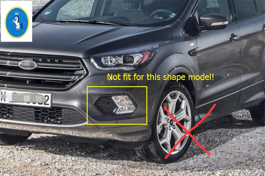 Yimaautotrims For Ford Kuga / Escape 2017 2018 ABS New Style Front Fog Light Lamp Molding Cover Trim 2 Pcs / Set