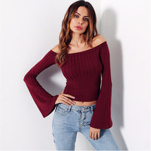 e8fe3d1ddfe New 2018 Spring Womens Bardot Knitted Ruffled Frill Off Shoulder Ribbed  Long Sleeve Crop Top T