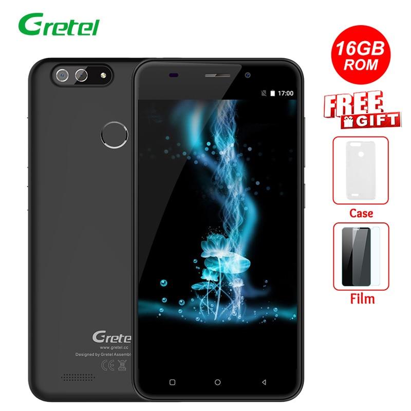 bilder für Gretel S55 Android 7.0 Handy 5,5 zoll IPS Quad Core MT6580A 1 GB RAM 16 GB ROM 8MP Dual Cams Fingerprint 2600 mAh Smartphone