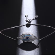 NJ Turkish Blue Evil Eye Design Silver Charm Chain Bracelets for Women High Quality Copper Adjustable Bracelet Jewelry
