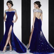 2016 luxus High Slit New Sparkly Lange Meerjungfrau Abendkleid vestido de fiesta Formale Partei-kleid robe de soiree abendkleider