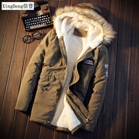 XingDeng Men Coats Winter Casual Mens dressy Tops Jacket Male Slim Thicken Fur Hooded Outwear Warm Coat Top Brand Clothing