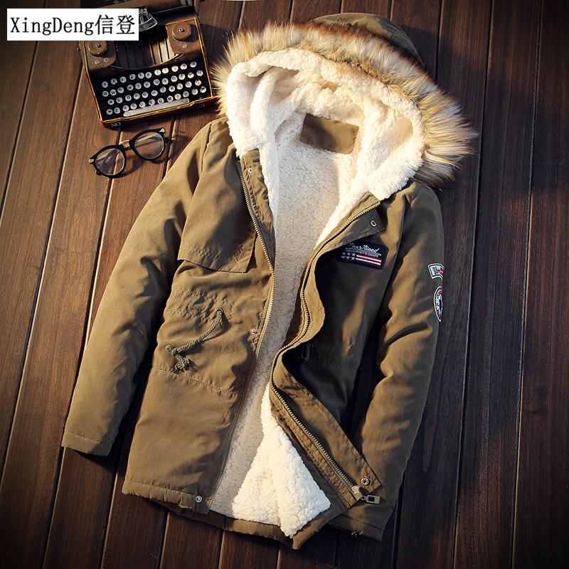 Xingdeng homens casacos de inverno casual dos homens vestido topos jaqueta masculino fino engrossar pele com capuz outwear casaco quente roupas marca superior