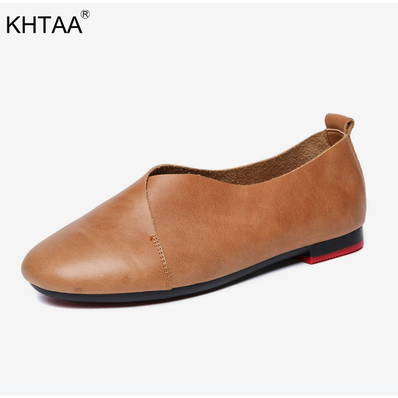 KHTAA Women Genuine Leather Flat Shoes Ladies Slip On Vintage Cowhide Flexible Loafers Female Casual Moccasins Plus Size new genuine leather women s casual shoes slip on woman flat shoe flexible women loafers moccasins female footwear big size 35 40