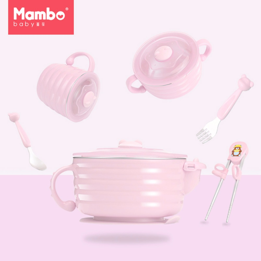 High Quality Training Infant Dinnerware Set Nonslip Suction Cup Baby Bowl Spoon Fork Cup Slip Sucker Kids Feeding with Handle luxurious stainless steel fork and spoon dinnerware w sparkling acrylic crystal silver pink