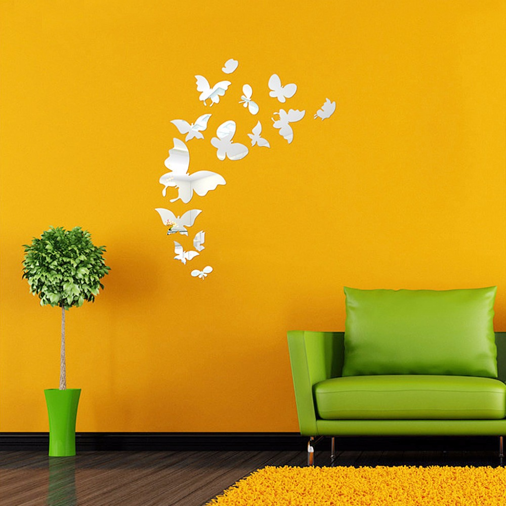 New Butterfly Combination 3D Mirror Wall Stickers Art Home ...