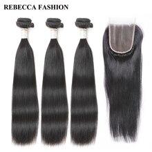 Rebecca Реми прямые волосы 1 упак. 3 Связки бразильский Weave волос с Накладные волосы 100% Человеческие волосы Синтетические волосы на кружеве 4×4 для парикмахерская
