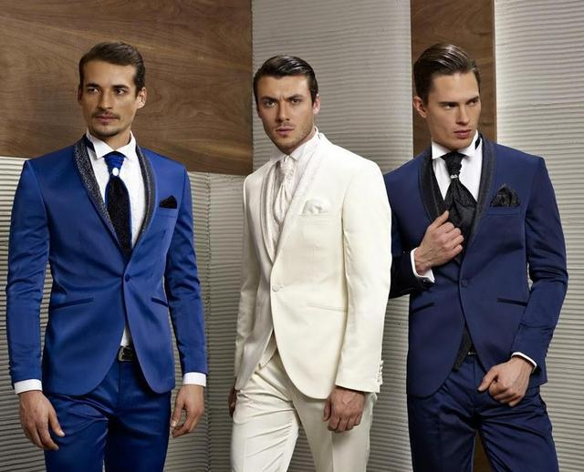 New Arrival Groom Tuxedos Blue White Navy Wedding Suits For Men Shawl Lapel One On
