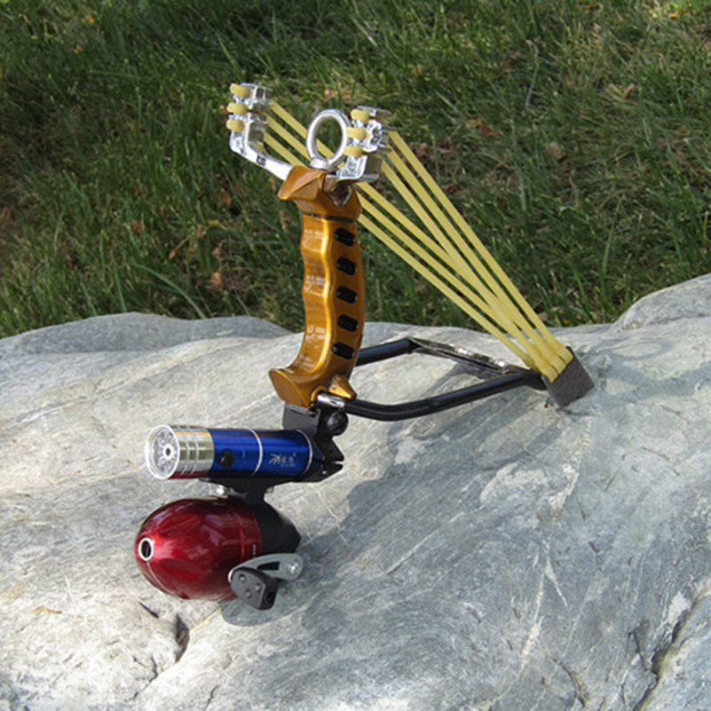 Fish Slingshot with the Fishing Wheel and Laser flashlight Stainless Steel Aluminium Alloy Archery Shooting Hunting Equipment vik max adult kids dark blue leather figure skate shoes with aluminium alloy frame and stainless steel ice blade