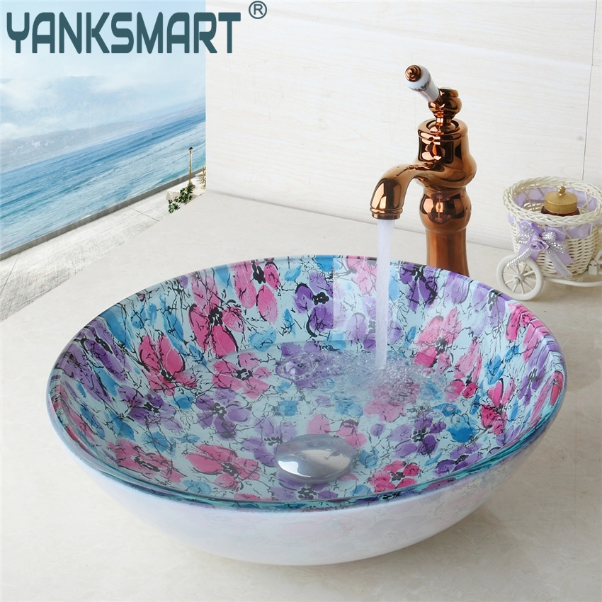 YANKSMART Round Glass Flora Washroom Basin Vessel Vanity Sink Bathroom Washbasin Ross Golden Brass mixer Faucet Set w/ Drain