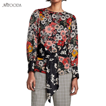 NATOODA 2018 Fashion Vintage Girdle Print Patchwork Blouse Women Sashes Shirts Long Sleeve Office Chic Women Tops Blusas XY3012