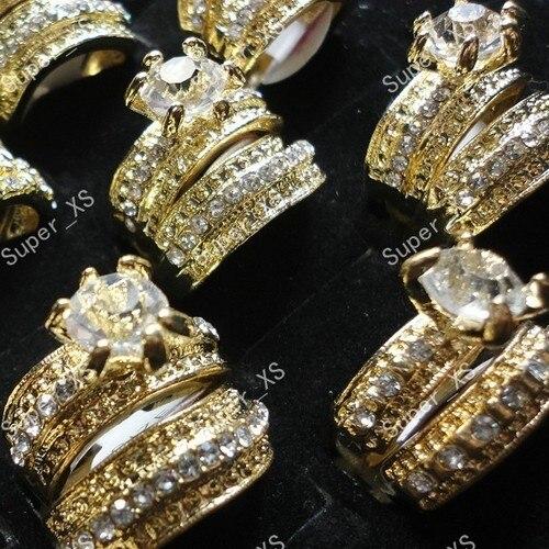 3b1c5f6fa 2 في 1 الزركون الراين الذهب خواتم للنساء مجوهرات السائبة الكثير شحن مجاني  LR036 كله