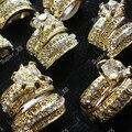 12 шт./6 пар, лидер продаж! 2 в 1 циркониевые Стразы, золотые кольца для женщин, ювелирные изделия оптом в партии, Бесплатная доставка LR036 - фото