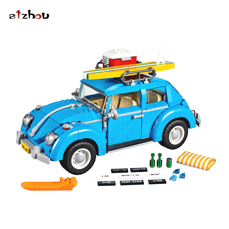 StZhou Leping Series City Car Volkswagen Beetle model Building Blocks Compatible Blue Technic Car Toy Educational Gifts new lepin 21003 series city car beetle model educational building blocks compatible 10252 blue technic children toy gift