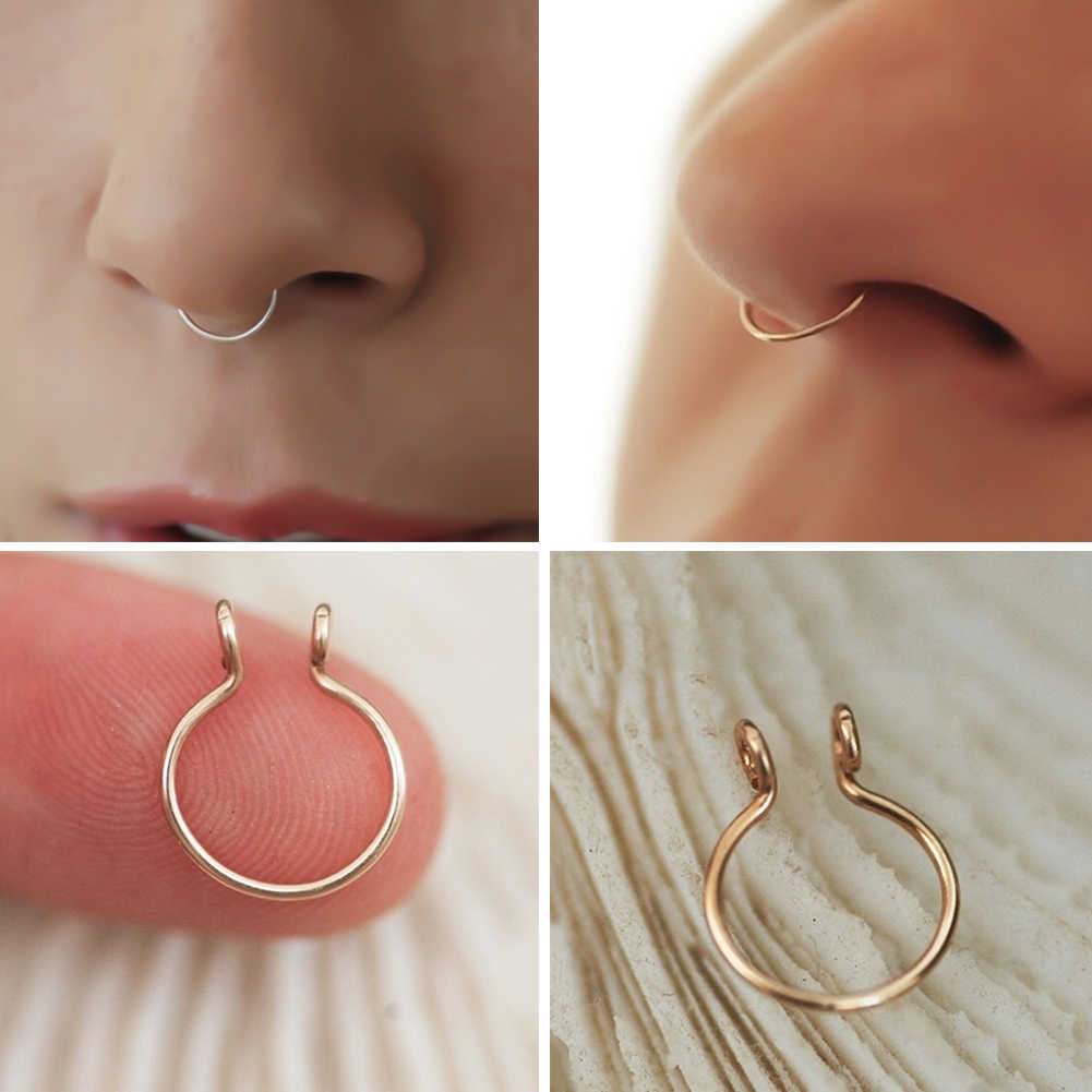Round Beads Nose Ring Nostril Hoop Body Piercing Jewelry Non