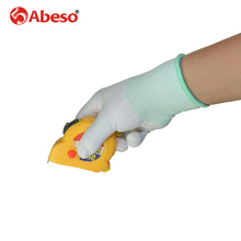 ABESO 12 pairs labor nylon gloves 13 gauge knitting white wear-resisting cleansing,employee, experiment security work gloves A7006