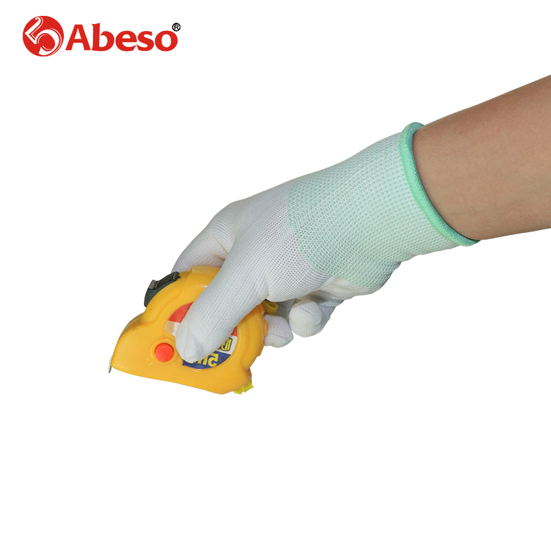 ABESO 12 pairs labor nylon gloves 13 gauge knitting white wear-resisting cleaning,worker, experiment safety work gloves A7006 international labor migration