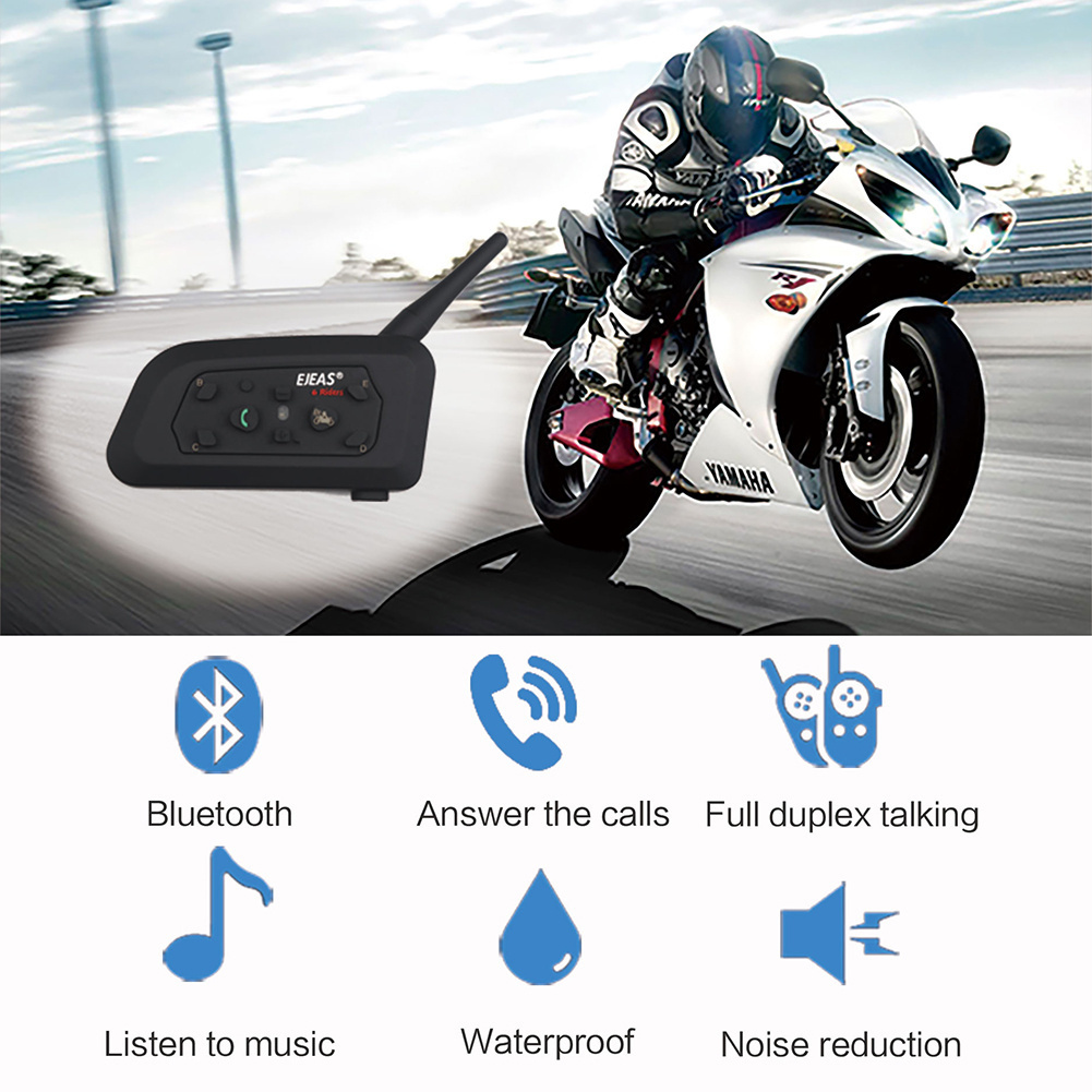 New Fodsports 2 pcs V6 Pro Motorcycle Helmet Headset Bluetooth Intercom 6 Riders 1200M Wireless Intercomunicador BT Interphone new ejeas e200 300m motorcycle bluetooth helmet intercom for 2 riders bt wireless intercomunicador interphone headset