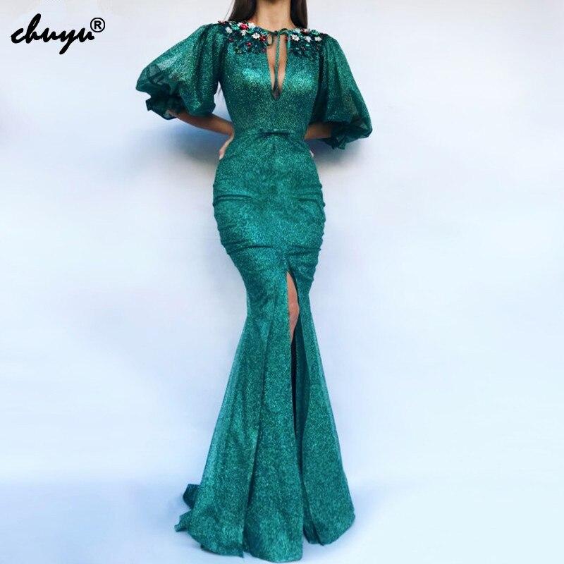 Green Muslim Evening Dress Mermaid Half Sleeves Sequins Lace High Slit Islamic Dubai Saudi Arabic Long Formal Evening Gown Prom