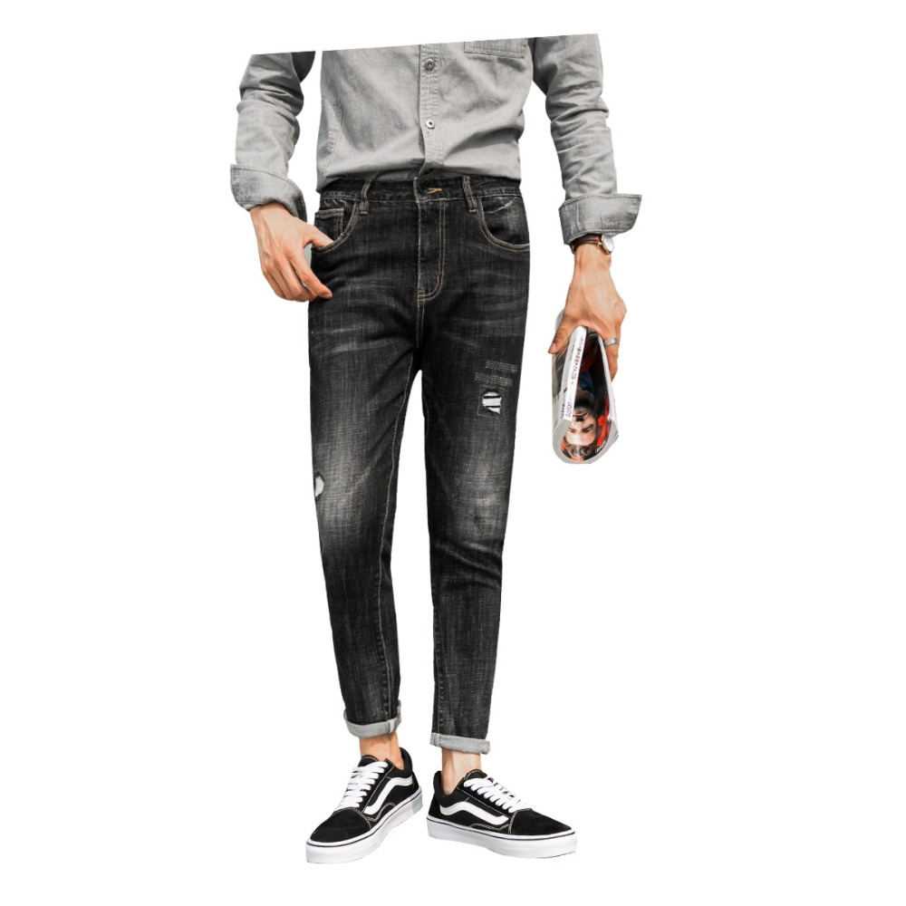 Джинсы для осени и зимы для мужчин, облегающие и маленькие ноги для мужчин, джинсы в Корейском стиле, тренд 2018, новые молодежные штаны высоко