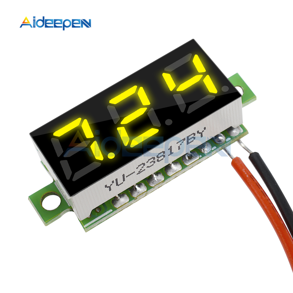 0.28 Inch DC 2.5-30V Mini LCD Digital Voltmeter Voltage Meter Panel Volt Tester Detector Monitor 2 Wire Yellow LED Screen