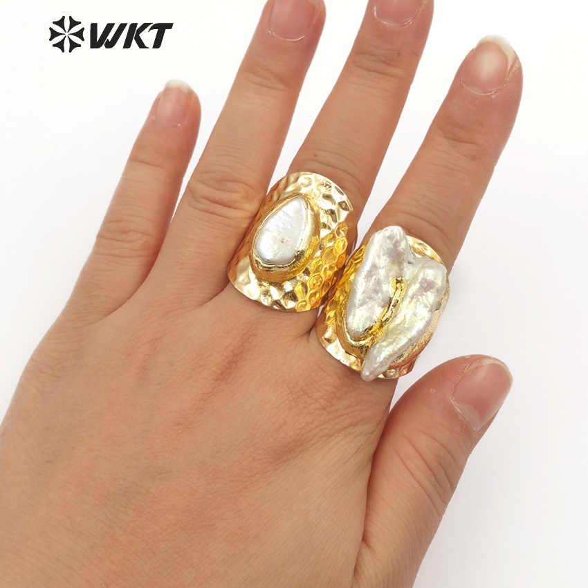 WKT WT-R328 คลาสสิก Vintage Bohemian Pearl แหวนกว้าง Shape ปรับผู้หญิงเครื่องประดับแหวนเครื่องประดับ