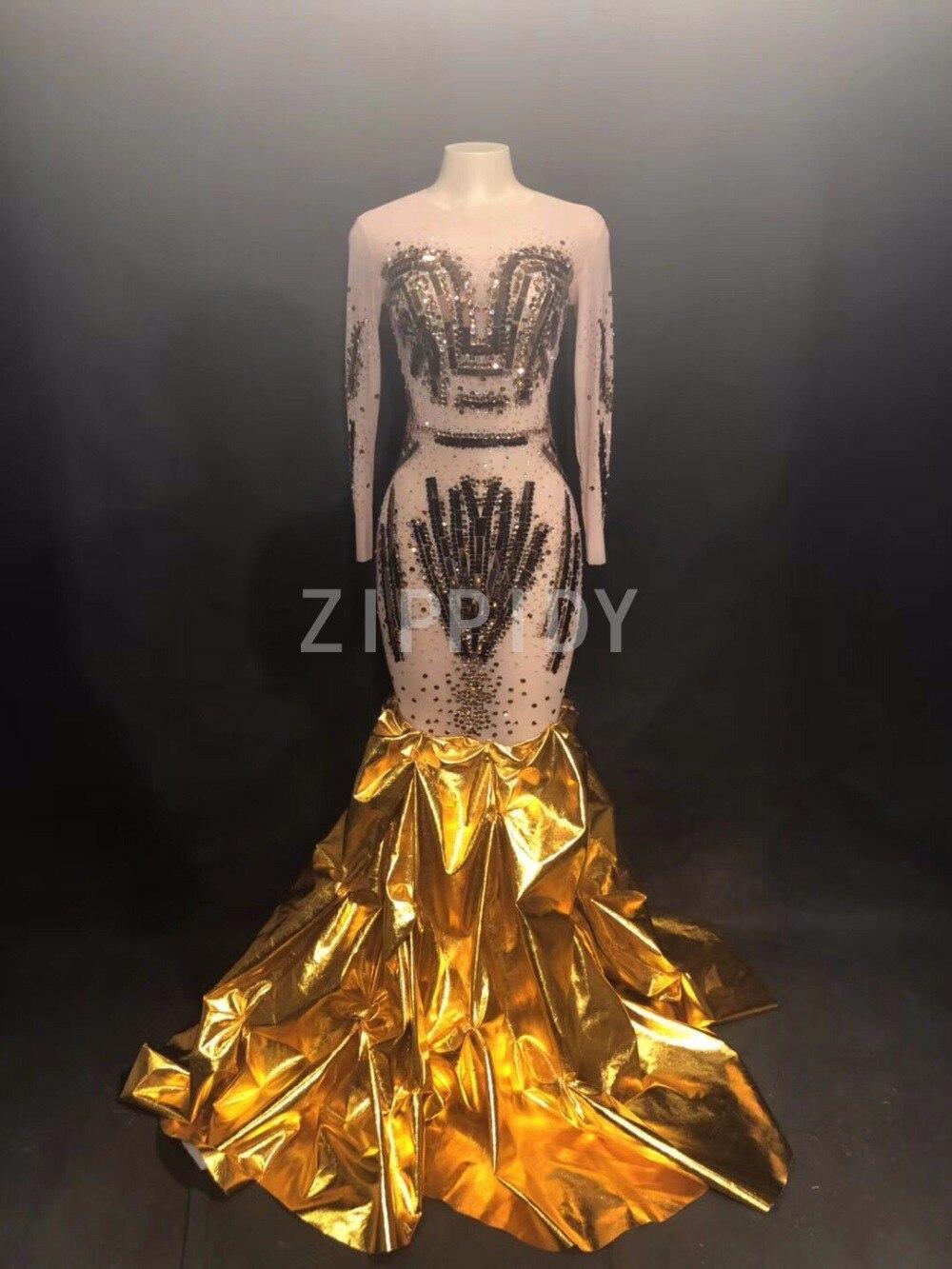 Paillettes d'or strass longue queue robe femmes anniversaire célébrer tenue femme chanteuse soirée scène robe Sexy maille robe