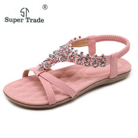 2018 New National Sandals Bohemian Rhinestone Flower Trade Large Size 35 42 Flat Shoes Women Sandals