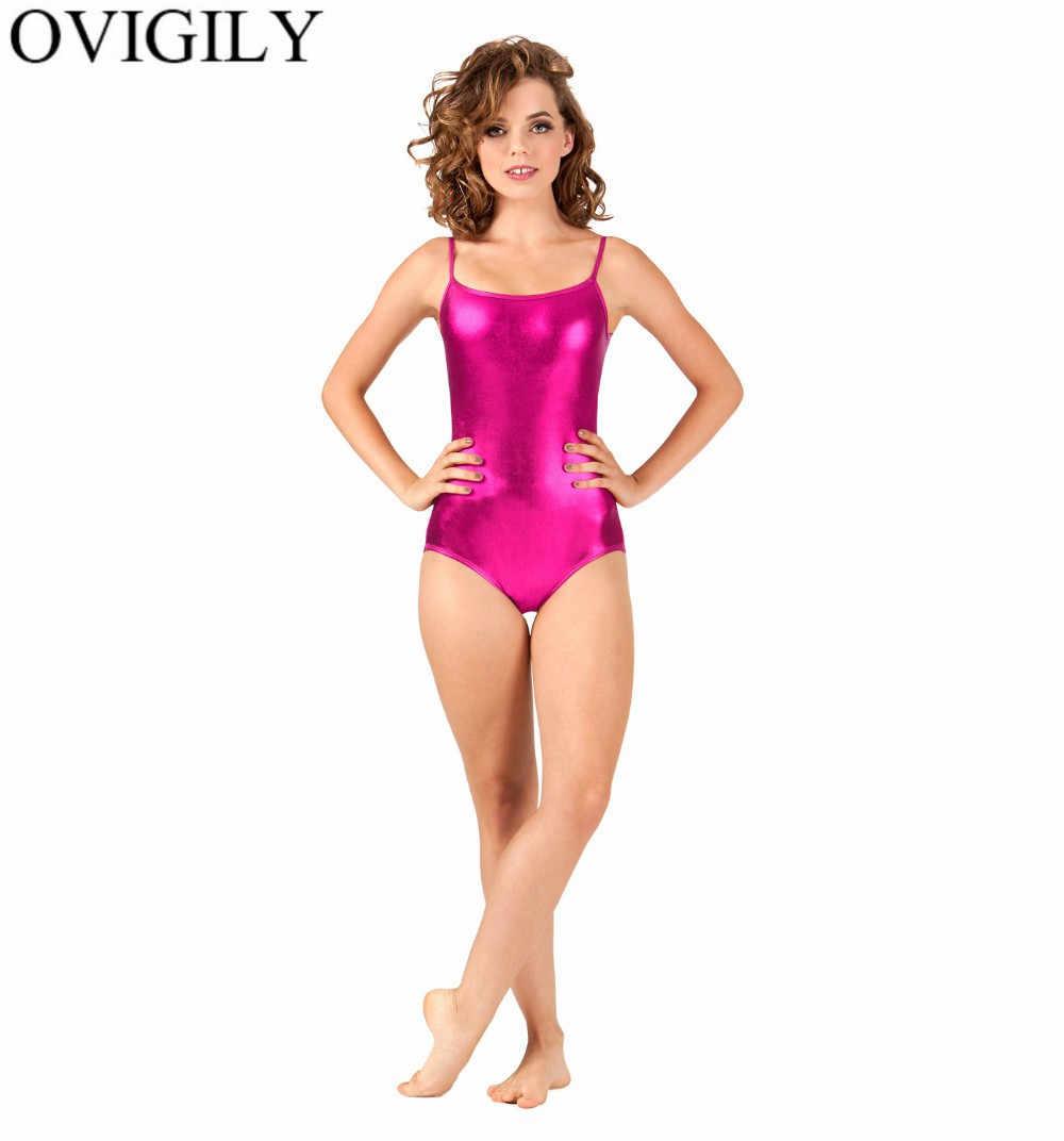 OVIGILY damski Spaghetti pasy trykot dorosłych błyszczące metalowe Camisole trykot baletowy Shorty Unitard Backless Dance topy kobiet