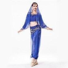 Sari Indian Clothing 4-piece Sequin Chiffon Long Sleeve Top, Coin Waist Belt, Dance Veil Headpiece Indian Pants for Women
