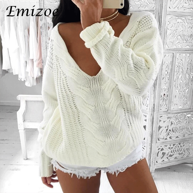 Emizoe autumn winter knitted top women ugly v neck twist sweater jumpers 2017 casual white pullovers sweater