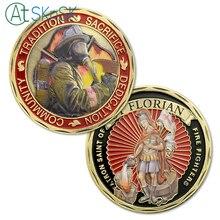 1/3/5/10 шт покровителя флорианских пожарных Монетка пожарный медальон США. Юбилейные монеты Коллекционные вещи