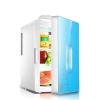 16L Car Mini Fridge Icebox Portable Refrigerator Auto Home Daul Use Freezer Cooler Heater Refrigeration Tempered Glass Door
