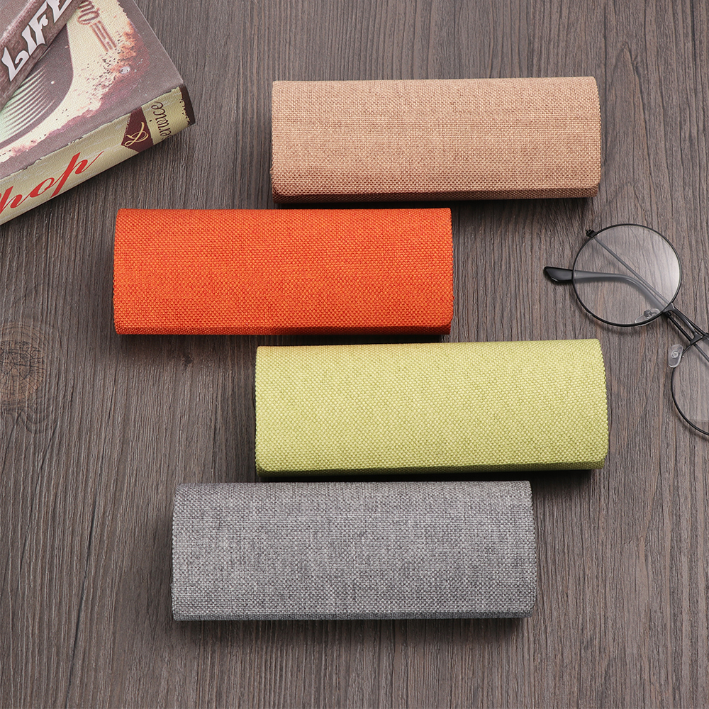 New Retro Oval Glasses Box Sunglasses Linen Folding Eyewear Case Optical Handmade Storage Glasses Case