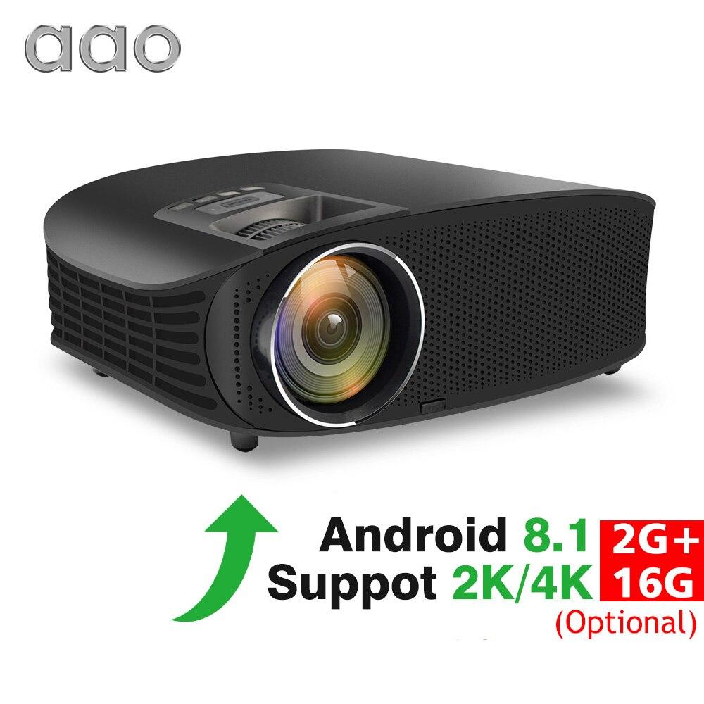 AAO YG600 HD Projecteur En Option Android 8.1 support wifi 2 K 4 K 3600 Lumens Beamer Home Cinéma HDMI VGA 3D vidéo projecteur de jeu