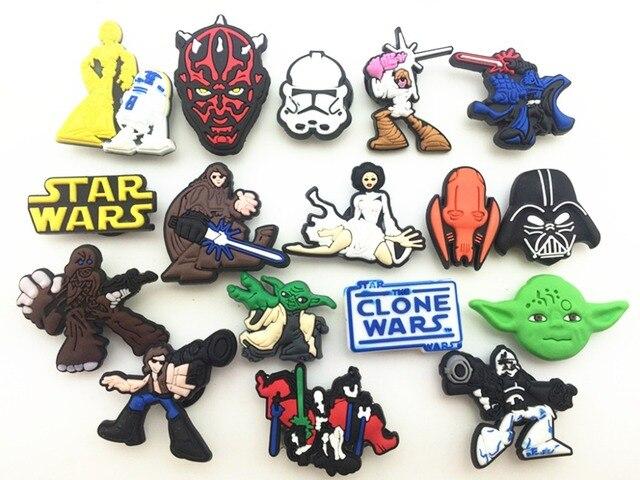 f5af66bb0e5d3 17 Pcs PVC Star Wars Shoe accessories Shoe Charms Shoe Decorations for Croc  Bracelet Wristband Kid Gift