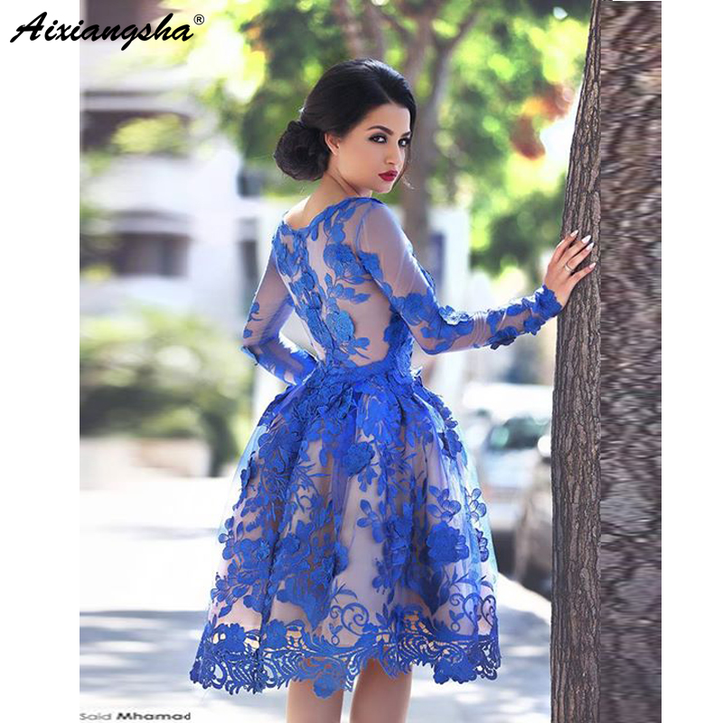 Royal Blue 2018 Elegant   Cocktail     Dresses   A-line Long Sleeves Appliques Lace Party Plus Size Homecoming   Dresses